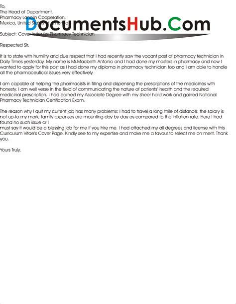 Cover Letter for Pharmacy Technician | DocumentsHub.Com