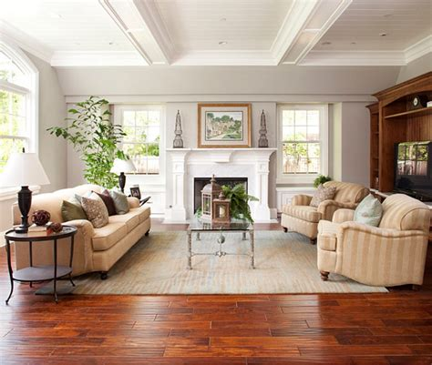 home and decor flooring elegant cherry red wooden floor for classic living room design with striped sofa for new home