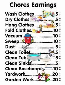 Allowance Chore Chart Chores Earning Chart They Homeschool Me