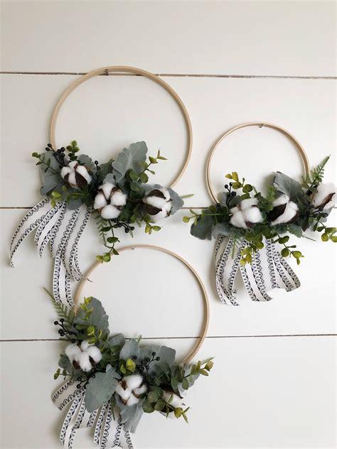 farmhouse hoop wreath   etsy shop hoop wreath modern