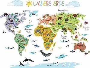 Wandtattoo Weltkarte Kinder : wandsticker weltkarte kinder geographie tierwelt spielerisch erlernen mit der wandtattoo ~ Eleganceandgraceweddings.com Haus und Dekorationen