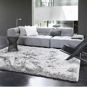 tapis tendance gris uni shaggy adore par ligne pure With tapis de course avec canapé gris contemporain