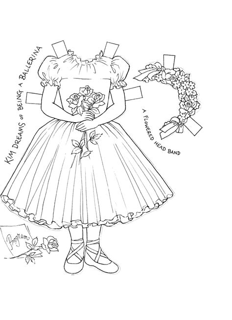 paper dolls  kims paper doll coloring book