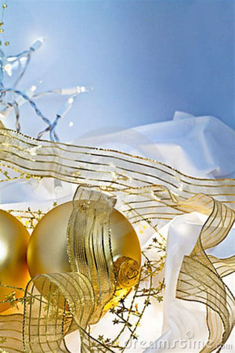 gold  blue christmas baubles background stock image