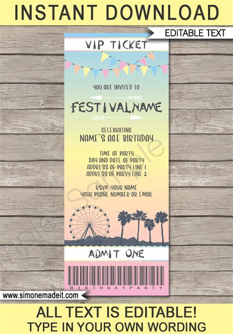 coachella themed party printables invitations