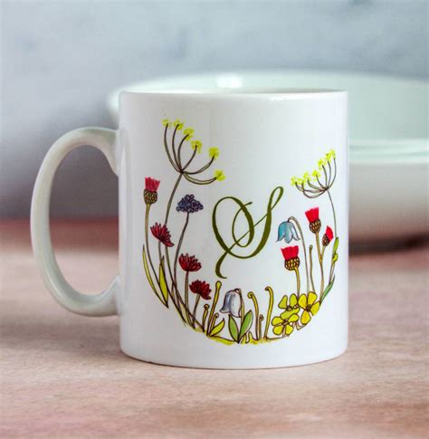 personalised floral initial mug by snapdragon ...