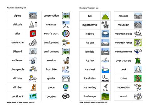 widgit mountains vocabulary list teaching resources