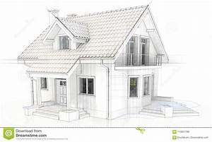 3d Technical Drawing Of A Modern House Stock Illustration