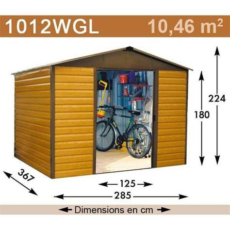 abri jardin m 233 tal aspect bois 10 46 m2 yardmaster kit d ancrage inclus trigano store