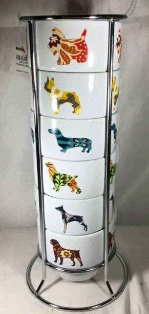 There are 66975 coffee cup set for sale on etsy, and they cost 32,87 $ on average. WORLD MARKET SET OF 6 DOG CANINE STACKING COFFEE MUGS Cups WITH METAL RACK | eBay