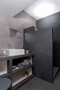 beautiful salle de bain beton cire gris ideas amazing With beton cire sur carrelage salle de bain