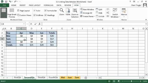 microsoft office excel 2013 tutorial linking data between worksheets k alliance youtube