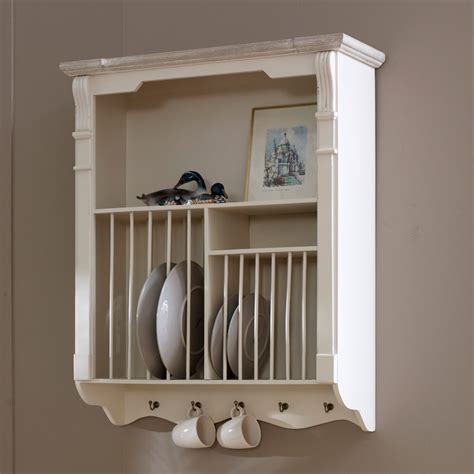 Lyon Range   Cream Wall Mounted Plate Rack   Flora Furniture