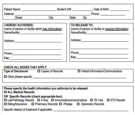 medical records release form template 10 medical records release forms to download sle