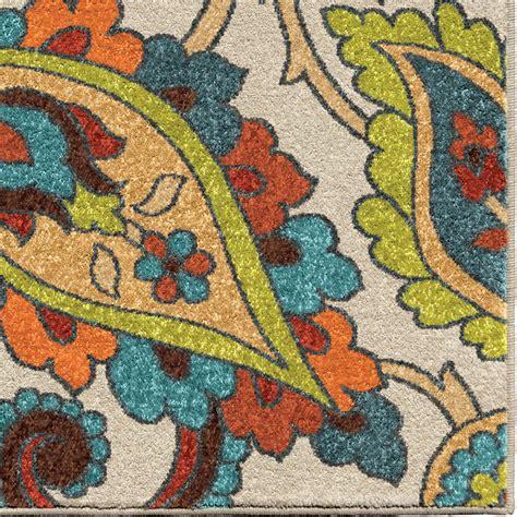 bright multi colored area rugs orian rugs bright color paisley garden multi area