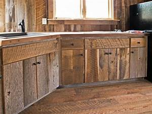 Custom crafted barn wood cabinets traditional kitchen for Barn wood kitchen cabinets