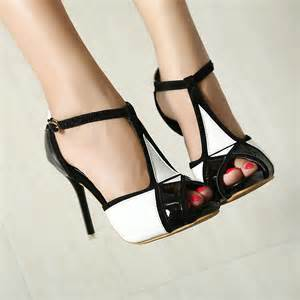 Black and White Heels Shoes for Women