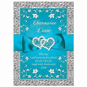 Wedding Invitation Turquoise, Silver Floral FAUX