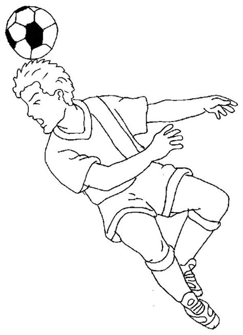 A Soccer Player Doing a Heading to Make a Goal Coloring Page - Download & Print Online Coloring Pages for Free | Color Nimbus
