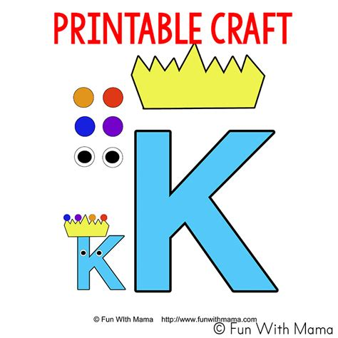 letter k worksheets with 339 | letter k is for king craft template