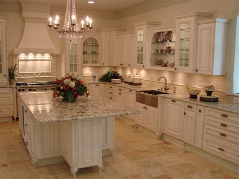 traditional kitchen design  white cabinets  marble