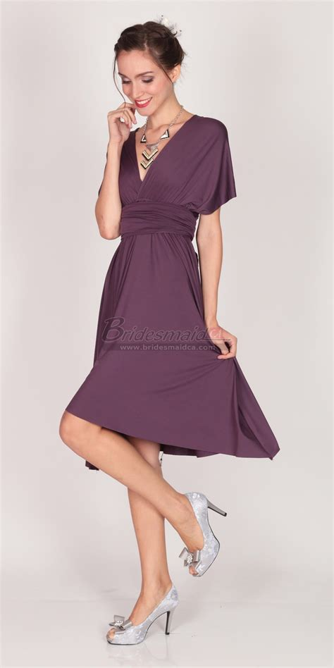 purple satin chiffon knee length bridesmaid dress