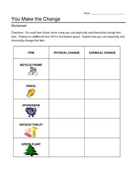 chemical and physical changes worksheet by jjms tpt