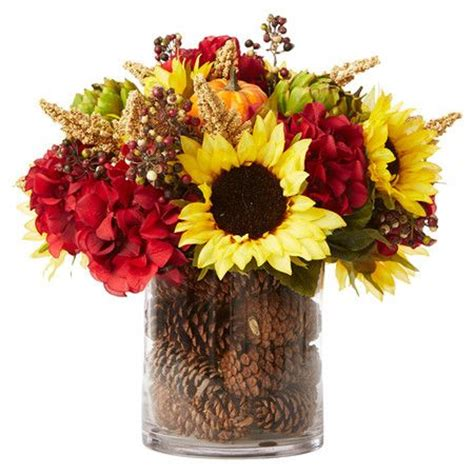 artificial fall vase flower flowers faux autumn arrangements arrangement centerpiece sunflower sunflowers silk glass autumnal lush charming vignette featuring craft