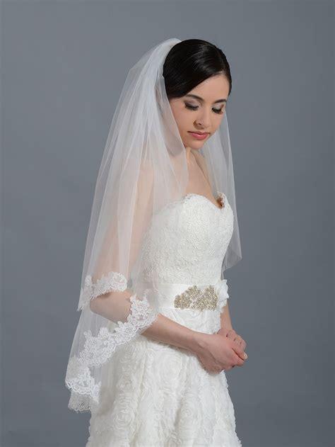 2 Tier Ivory Elbow Alencon Lace Wedding Veil V042 In 2019