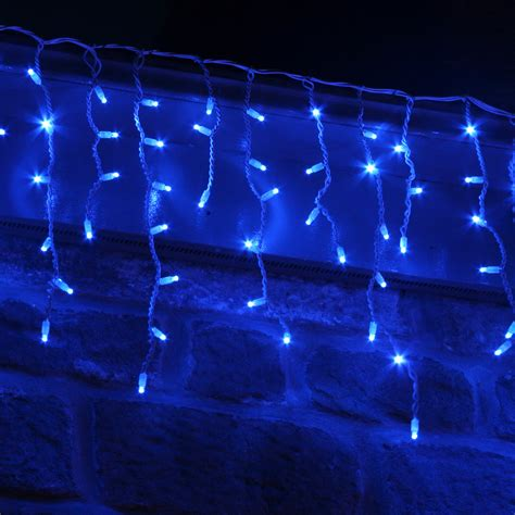 blue net christmas lights 100 led blue icicle lights connectable for outdoor use