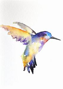 ORIGINAL Watercolor painting - Rainbow Hummingbird ...