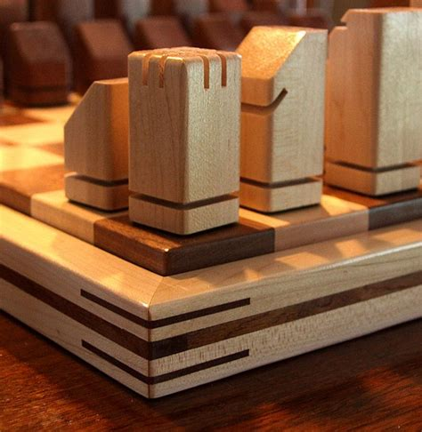 unique handmade wooden chess set  dave dufour