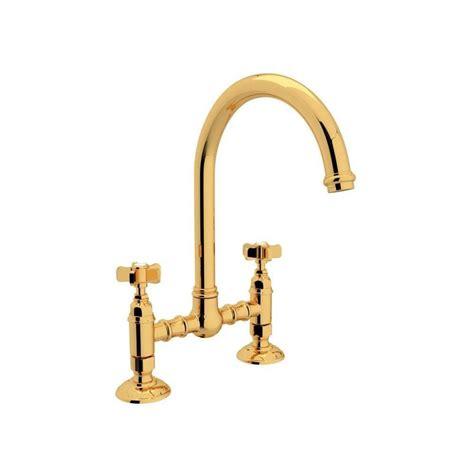 rohl country kitchen bridge faucet shop rohl country kitchen inca brass 2 handle deck mount bridge kitchen faucet at lowes com