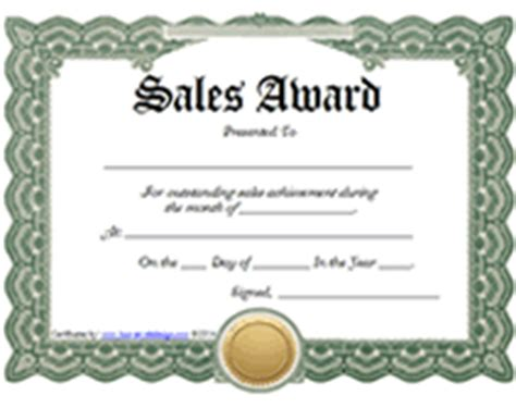 printable sales awards certificates templates