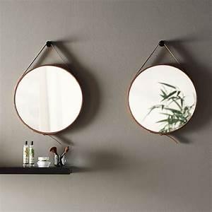 Miroir Barbier Rond : miroir barbier en cuir marron 50 cm liana ~ Teatrodelosmanantiales.com Idées de Décoration