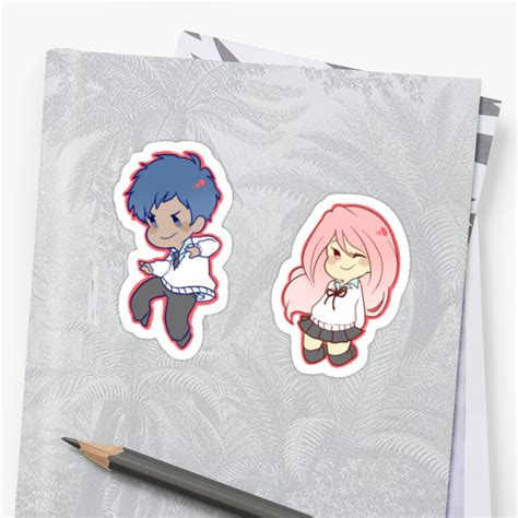 kuroko no basuke aomine daiki momoi satsuki stickers by