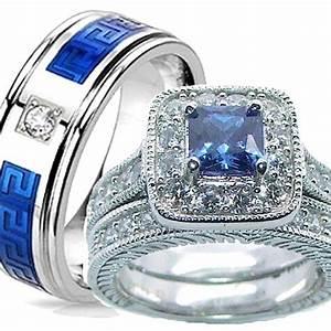 buy his her 3 piece wedding ring set sapphire blue With 3 piece wedding ring sets for her