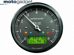 Bikermart  Motogadget Chronoclassic 80mm Black Face Analog Tachometer Speedometer  Motogadget