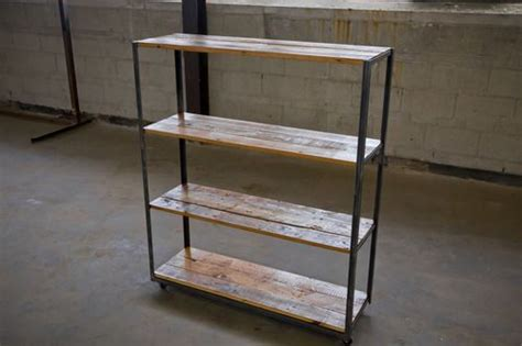 angle iron  reclaimed  growth pine shelving unit rx