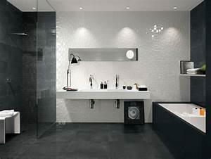 Carrelage Salle De Bain Noir Et Blanc : id e d coration salle de bain id e de carrelage pour la salle de bain en noir et blanc ~ Dallasstarsshop.com Idées de Décoration