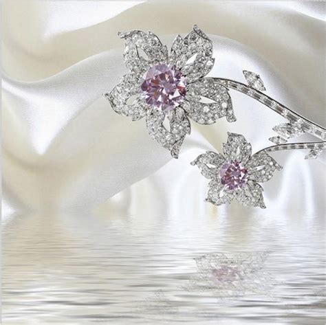 luxury diamond jewelry flowers  white silk wallpaper