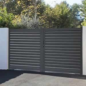 Portail En Aluminium : portail alu gris anthracite battant portail 3m alu ~ Melissatoandfro.com Idées de Décoration
