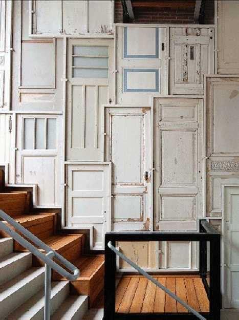 modern wall decor ideas recycling  wood doors