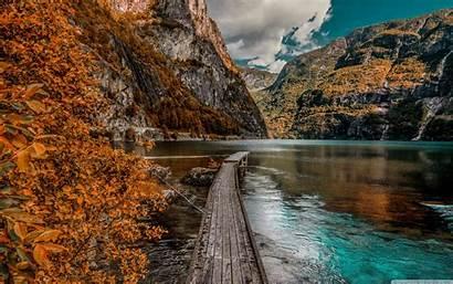 Lake Autumn Mountains Dock Desktop 4k Wallpapers