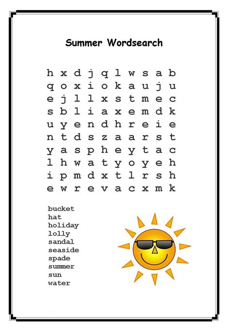 summer word search puzzles  coloring pages  kids