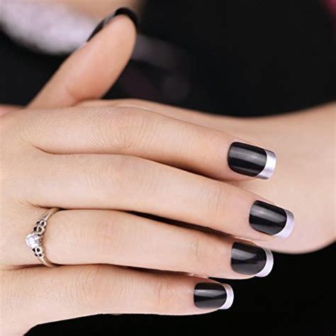 bling art false nails french manicure black silver full cover medium tips uk crossdress boutique