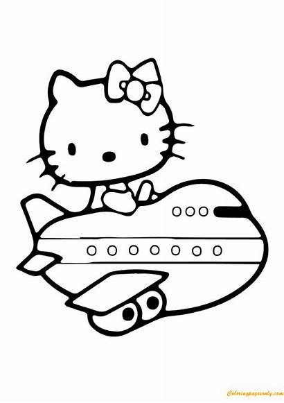 Kitty Hello Airplane Pages Coloring Coloringpagesonly
