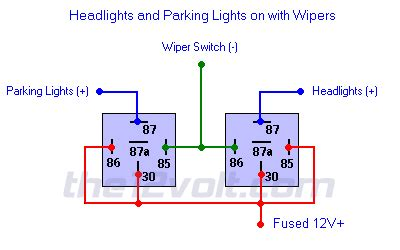 Neg Relay Switch Wiring Diagram by Headlights And Parking Lights On With Wipers Negative