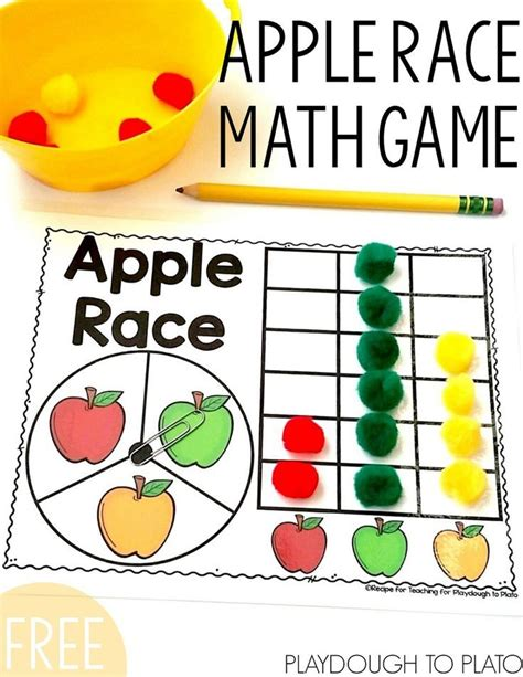 apple race math fall activities kindergarten 536   19235c74d4b729432444166cf6c030ee