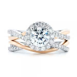 criss cross engagement ring two tone halo criss cross engagement ring 102678
